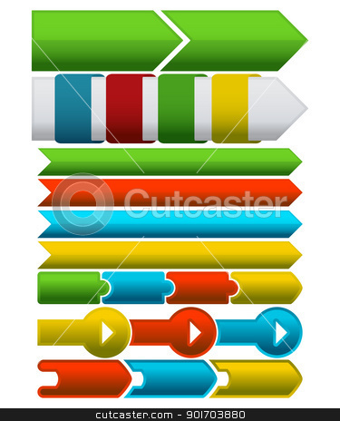 Horizontal steps stock vector clipart, A set of horizontal steps for presentations, reports, websites etc against white background. by Richard Laschon