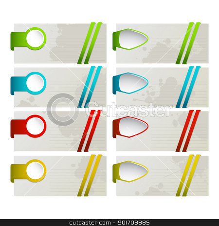 Set of colored desing elements stock vector clipart,  A set of colored desing elements for your design, website, application, presentation, or postcards by Richard Laschon