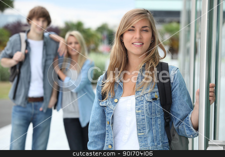 Friends going to college stock photo, Friends going to college by photography33