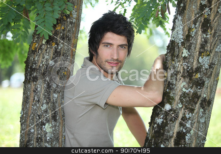 Man leaning on tree stock photo, Man leaning on tree by photography33
