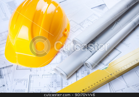 Building tools over blueprints stock photo, Building tools over blueprints by fikmik