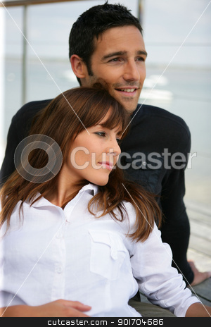 Portrait of couple relaxing outdoors stock photo, Portrait of couple relaxing outdoors by photography33