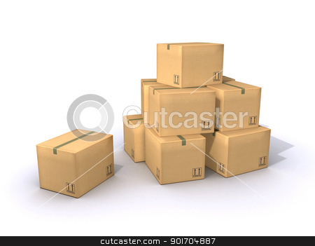 Cardboard Boxes stock photo, A pile of moving boxes made out of cardboard paper by Tristan3D