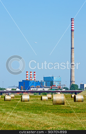 Nature and factory stock photo, Nature and industry in a hot, summer day by Borislav Marinic