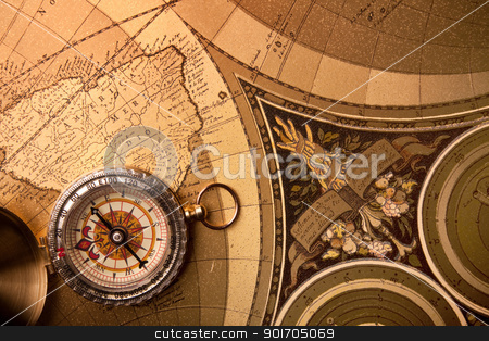 Compass, treasure map and travel! stock photo, Compass, treasure map and travel! by fikmik