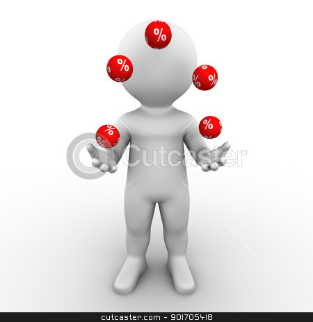 percent juggler stock photo, Bobby is juggling a bunch of percent balls by Tristan3D