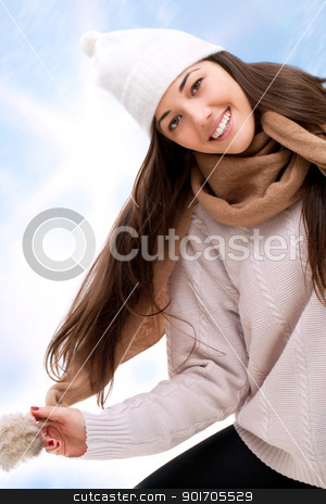 Attractive winter girl outdoors. stock photo, Young attractive winter girl having fun outdoors. by karel noppe