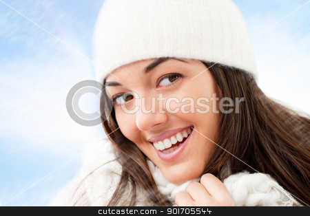 Close up Portrait of winter girl. stock photo, Close up of winter girl with attractive smile. by karel noppe