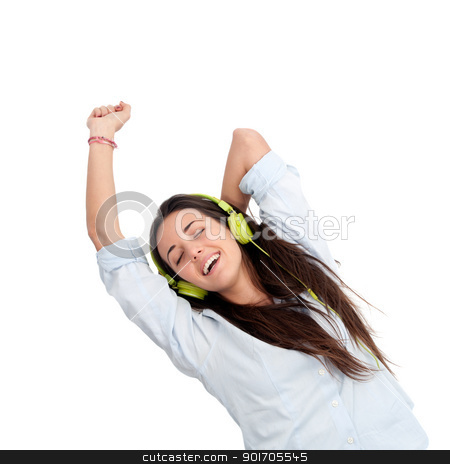 Girl dancing to the beat with headphones. stock photo, Girl dancing to the beat with headphones.Isolated. by karel noppe
