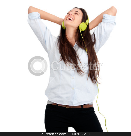 Girl feeling happy with music stock photo, Young woman feeling happy listening music with headphones.Isolated. by karel noppe