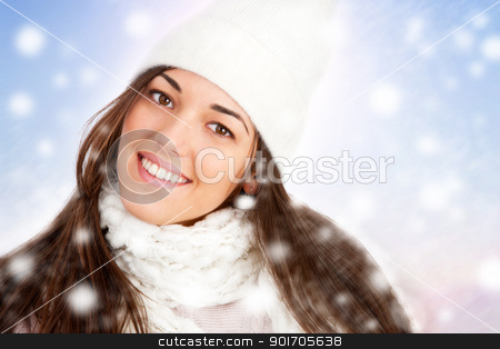Portrait of Winter girl with snowflakes. stock photo, Portrait of Young attractive winter girl with scarf and snowflakes. by karel noppe