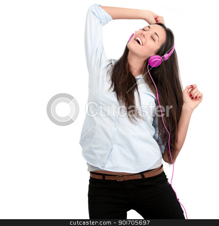 Young woman with pink headphones. stock photo, Young woman with pink headphones dancing.Isolated. by karel noppe