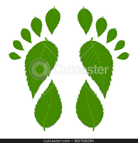 Green footprint stock photo, Green footprint made by leaves isolated on white with shadow. Vector illustration by sermax55