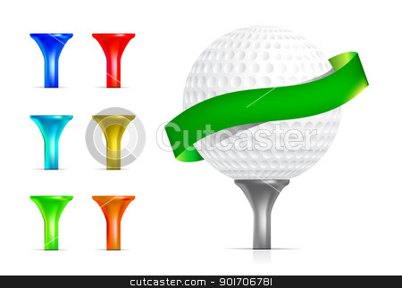 Golf ball isolated on white stock photo, Golf ball with tee isolated on white. Vector illustration. by sermax55