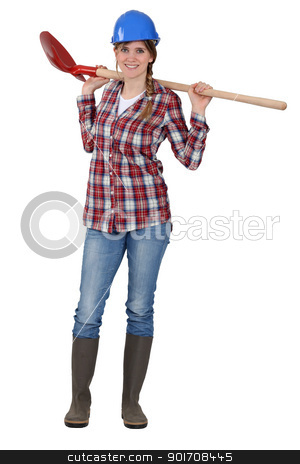 craftswoman holding a shovel stock photo, craftswoman holding a shovel by photography33
