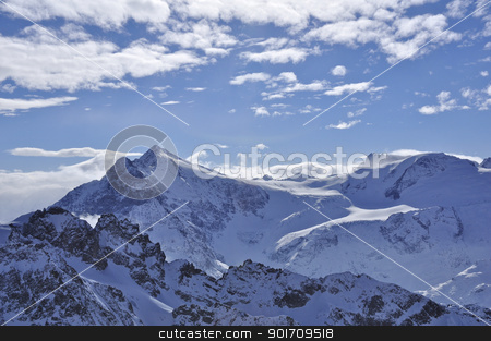 snow mountain in titlis stock photo, snow mountains on the view from top titlis  by momo_leif