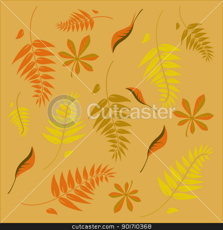 An autumn background with different shaped leaves stock vector clipart, An autumn background with different shaped leaves in various autumn browns by Mike Price