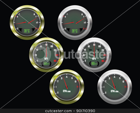 Set of three car dials with speedometer,rev counter and petrol and temperature gauge  stock vector clipart, Set of three car dials with speedometer,rev counter and petrol and temperature gauge with gold and silver trim by Mike Price