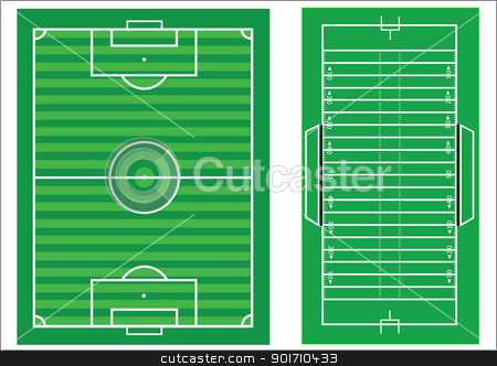 Scale vector diagrams of a soccer pitch and an american football stock vector clipart, Scale vector diagrams of a soccer pitch and an american football field, with all markings and dimensions to scale by Mike Price