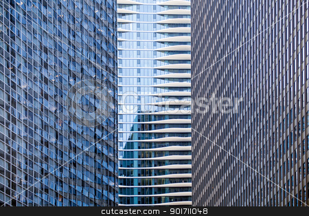 Distinctive hotel between skyscrapers stock photo, Distinctive condo hotel nestles between two large office buildings in Chicago by Steven Heap