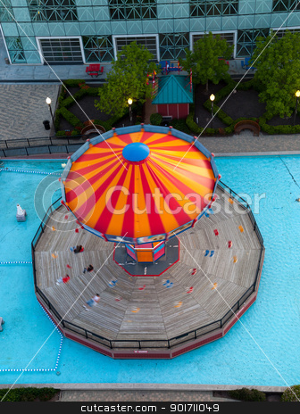 Overhead view of carousel on Navy Pier stock photo, View of carousel rotating on Navy Pier in Chicago by Steven Heap