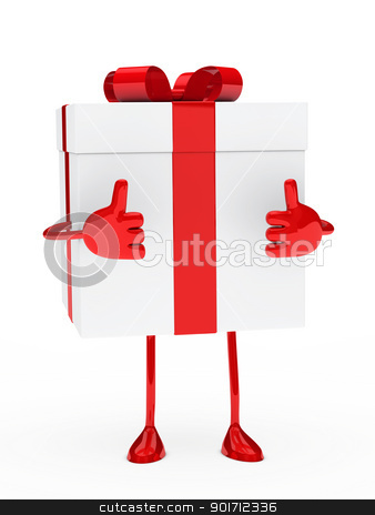 gift box figure stock photo, christmas red white gift figure thumb up by d3images