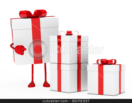 gift box figure point stock photo, christmas red white gift box figure point by d3images