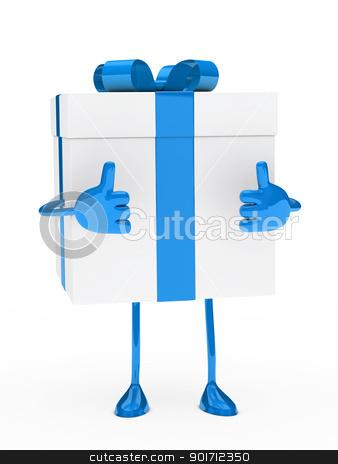 blue white gift box figure stock photo, christmas blue white gift figure thumb up by d3images
