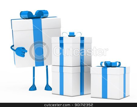 gift box figure point stock photo, christmas blue white gift box figure point by d3images