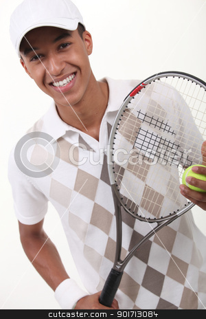 portrait of a teenager with racket stock photo, portrait of a teenager with racket by photography33