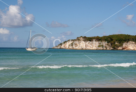 Tropical Sailing stock photo, A sailboat docked at a tropical beach, near Punta Cana Dominican Republic. by Chris Hill