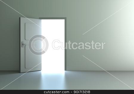 Open Door stock photo, A open door in a empty room. 3D rendered illustration. by Michael Osterrieder