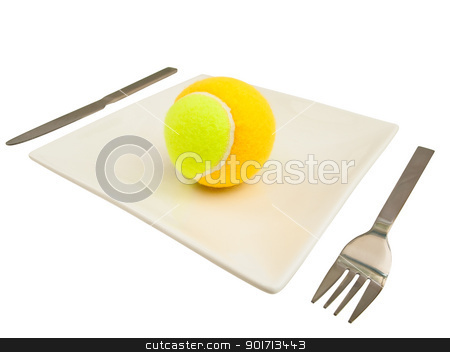 knife,  fork and tennis-ball at plate stock photo,  knife,  fork and tennis-ball at plate against the white background by Sergej Razvodovskij