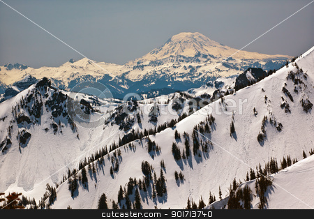 Snowy Mount Saint Adams and Ridge Lines stock photo, Snowy Mount Saint Adams and Ridge Lines Mountain Glacier from Crystal Mountain by William Perry