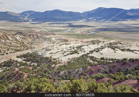 valley of Green River, Utah stock photo, wide semiarid valley of Green River near Browns Park below Flaming Gorge Dam, Utah, early spring by Marek Uliasz