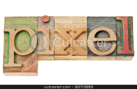 pixel word in wood type stock photo, pixel - isolated word in vintage letterpress wood type by Marek Uliasz