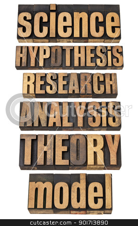 science and research related terms stock photo, science related terms - a collage of isolated words in vintage letterpress wood type - hypothesis, research, analysis, theory, model by Marek Uliasz