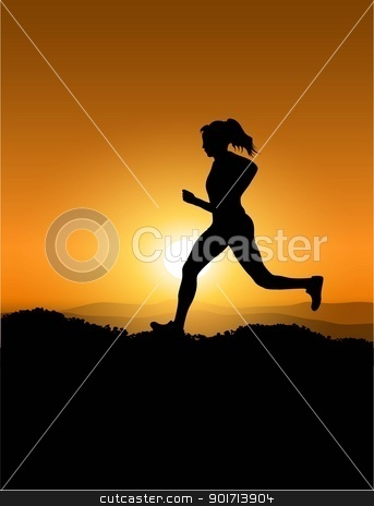sunset and woman stock vector clipart, woman and sunset by srecko80