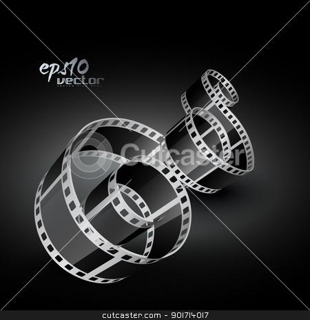 vector film reel stock vector clipart, vector realistic 3d film reel by pinnacleanimates