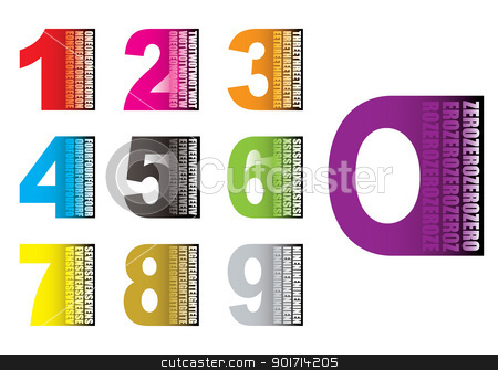 Learn by numbers stock vector clipart, Collection of brightly coloured numbers with their value written on them by Michael Travers