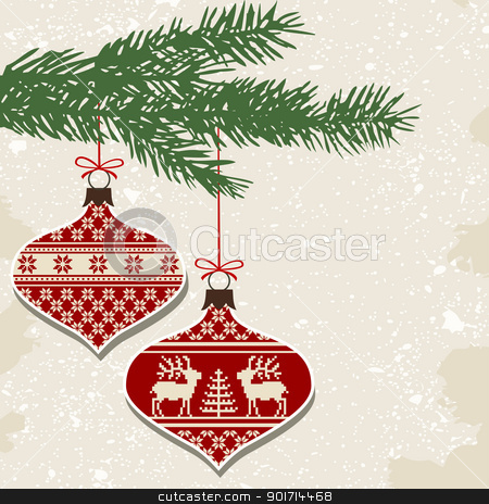 Retro christmas balls with ornaments stock vector clipart, Christmas balls with nordic cross stitch ornament and green branch, vector illustration by Ela Kwasniewski