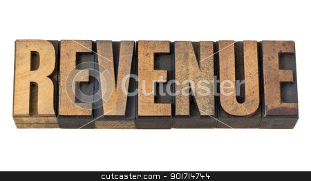 revenue word in vintage wood type stock photo, revenue - financial concept - isolated word in vintage letterpress wood type by Marek Uliasz