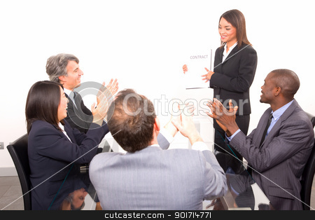 multi-ethnic team during a meeting stock photo, multi-ethnic team during a meeting by ambrophoto