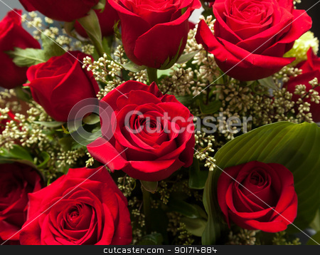 Close up of red rose bouquet with roses stock photo, Detailed close shot of velvet red roses in romantic valentines bouquet by Steven Heap