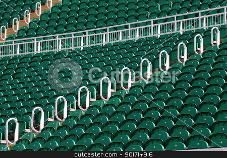 Rows of seating in stadium stock photo, Rows of green seating in stadium outdoors, low angle by Martin Crowdy