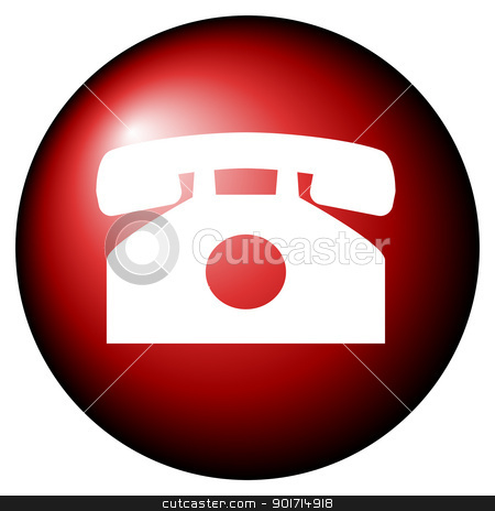 Telephone button stock photo, Red telephone button isolated on white background. by Martin Crowdy