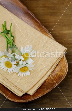 wooden plate and daisy on wooden background stock photo, wooden plate and daisy on wooden background by Olga Kriger