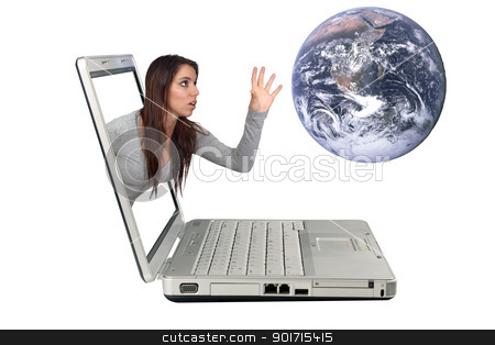 Attractive Brunette Reaching From a Laptop (2) stock photo, An attractive brunette reaching for the earth beyond a laptop computer screen for a 3-D effect.  Isolated on a white background with generous copyspace. by Carl Stewart