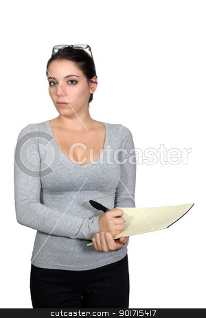 Casual Businesswoman with Notepad (1) stock photo, An attractive, casual businesswoman holding a notepad and a marker.  Isolated on a white background with generous copyspace. by Carl Stewart