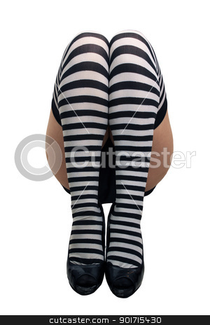 Female Legs with Striped Stockings (1) stock photo, A close-up of female legs wearing striped stockings, isolated on a white background with generous copyspace. by Carl Stewart